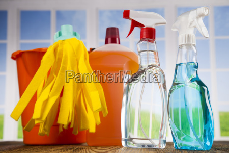 house, cleaning, product, on, wood, table - 25136146
