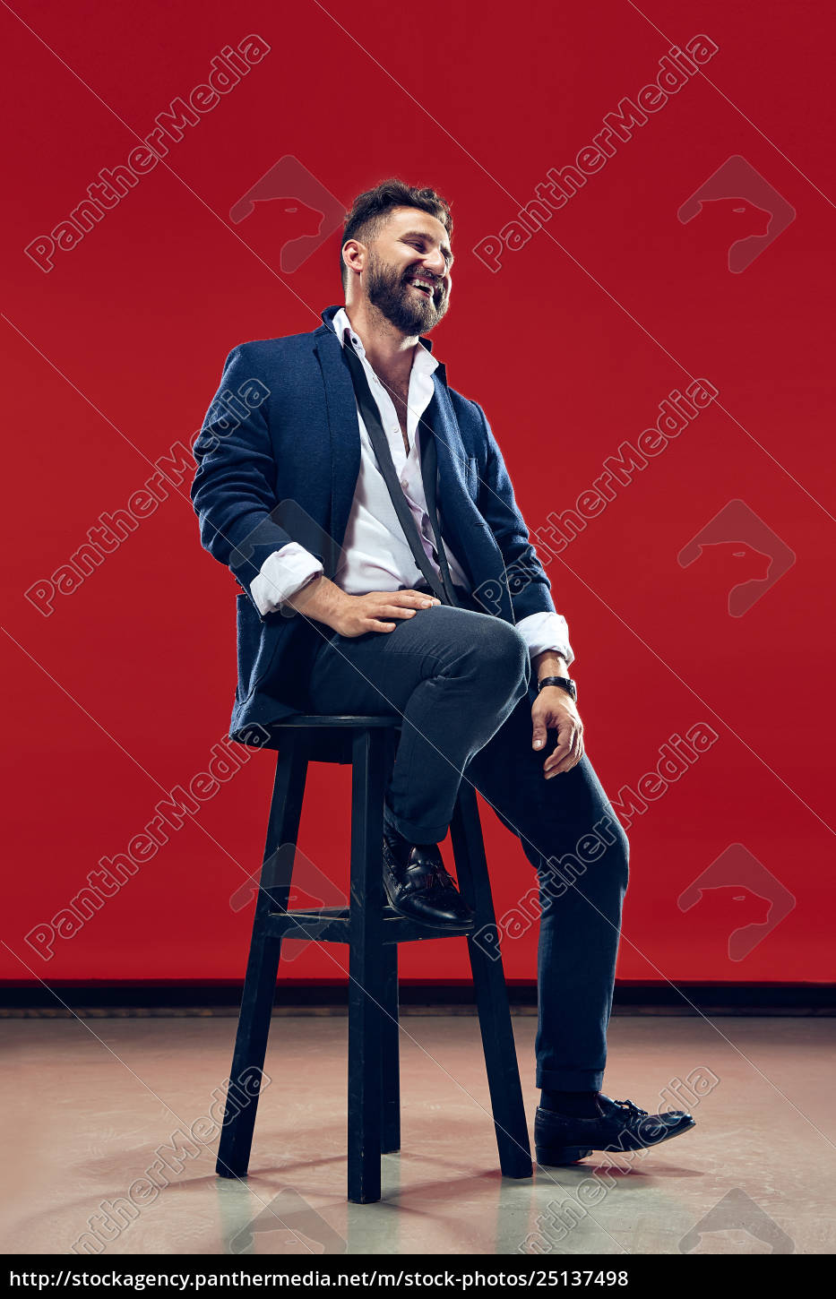the, happy, business, man, sitting, and - 25137498