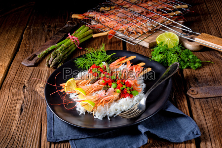 grilled, red, argentine, shrimps, with, red - 25142638