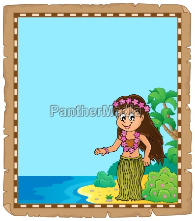 parchment with hawaiian theme dancer