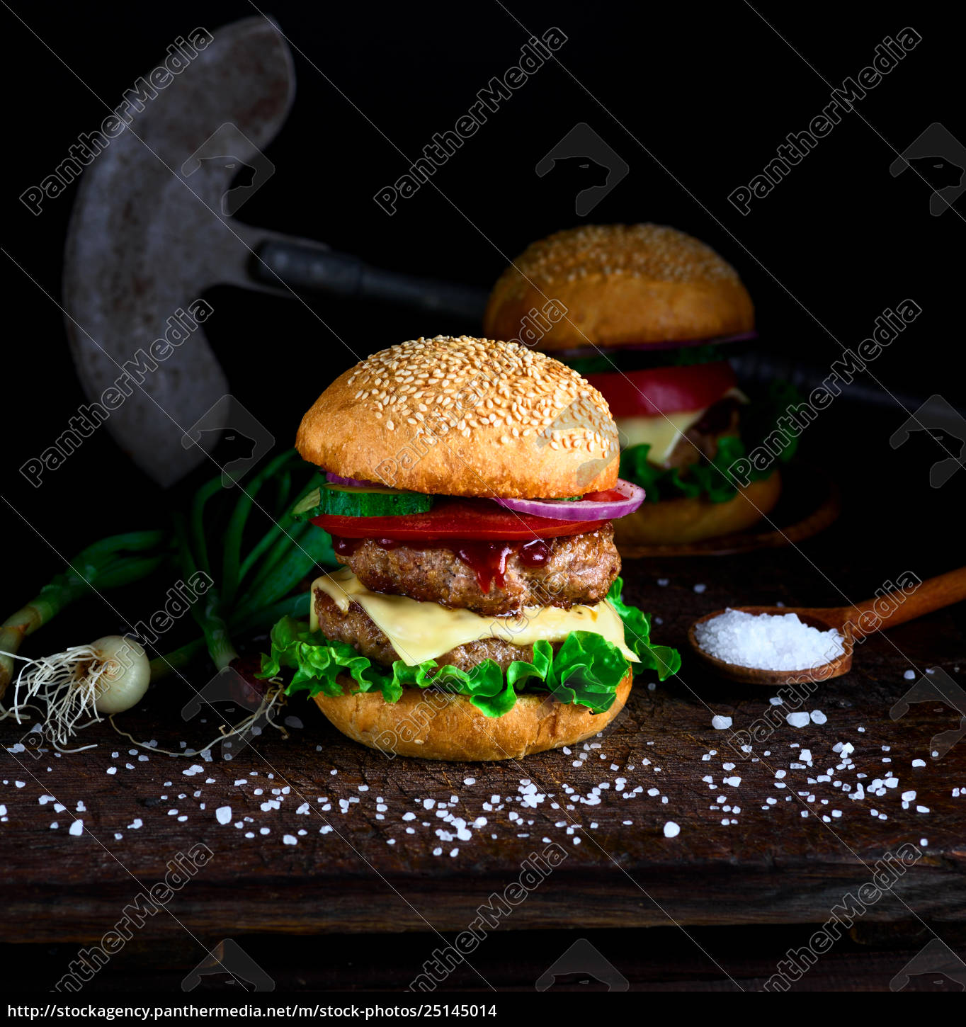 homemade, burger, with, lettuce, , cheese, , onion - 25145014