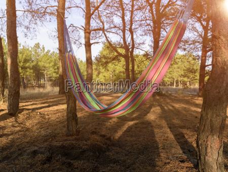empty textile hammock hanging between two