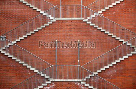stairs wall symmetry symmetric deserted railing