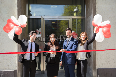 businesspeople, cutting, red, ribbon - 25155306