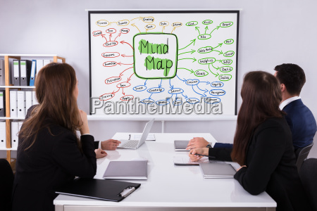 businesspeople, looking, at, mind, map, chart - 25155578
