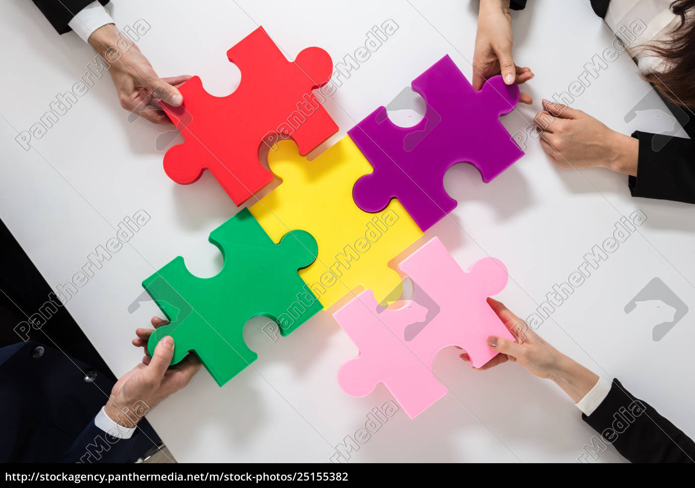 group, of, businesspeople, solving, jigsaw, puzzle - 25155382