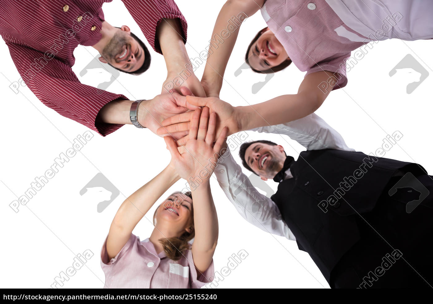 hotel, staff, stacking, their, hands - 25155240