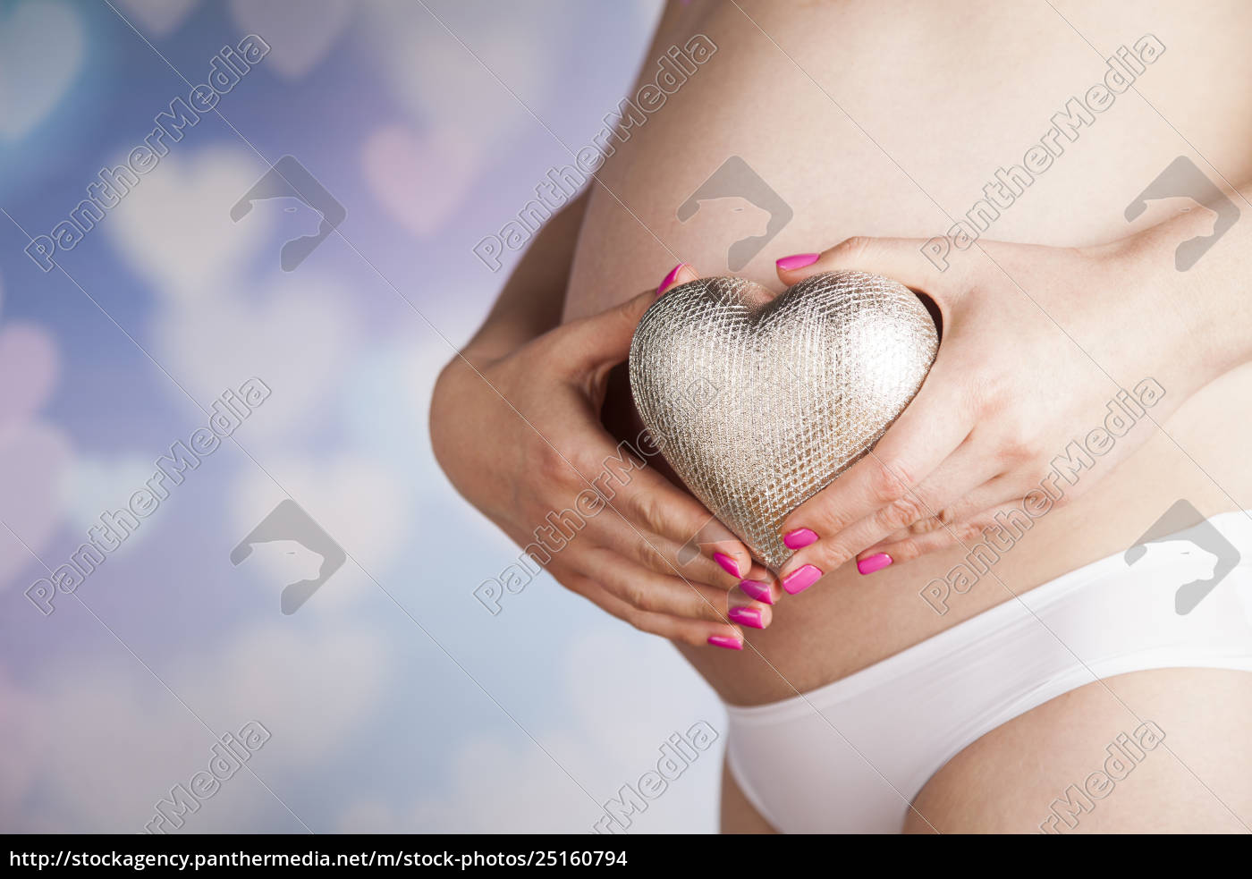 pregnant, woman, loving, heart, her, baby - 25160794