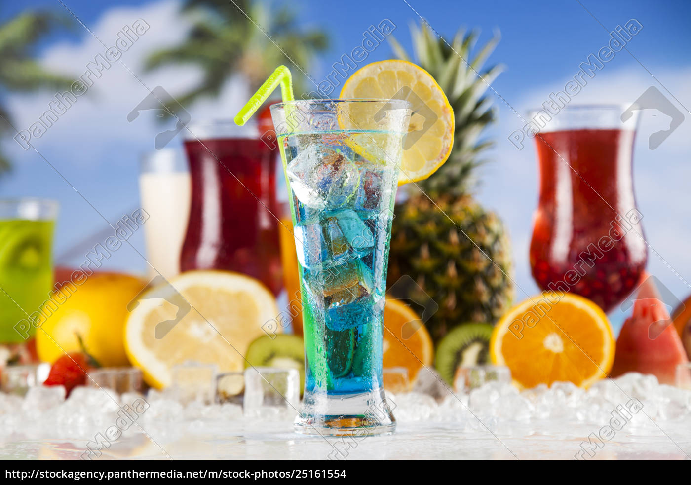 tropical, cocktails, set - 25161554