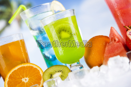 tropical, cocktails, set - 25161762