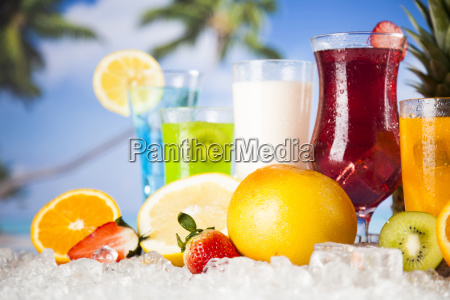 summer drink palm branch and fresh