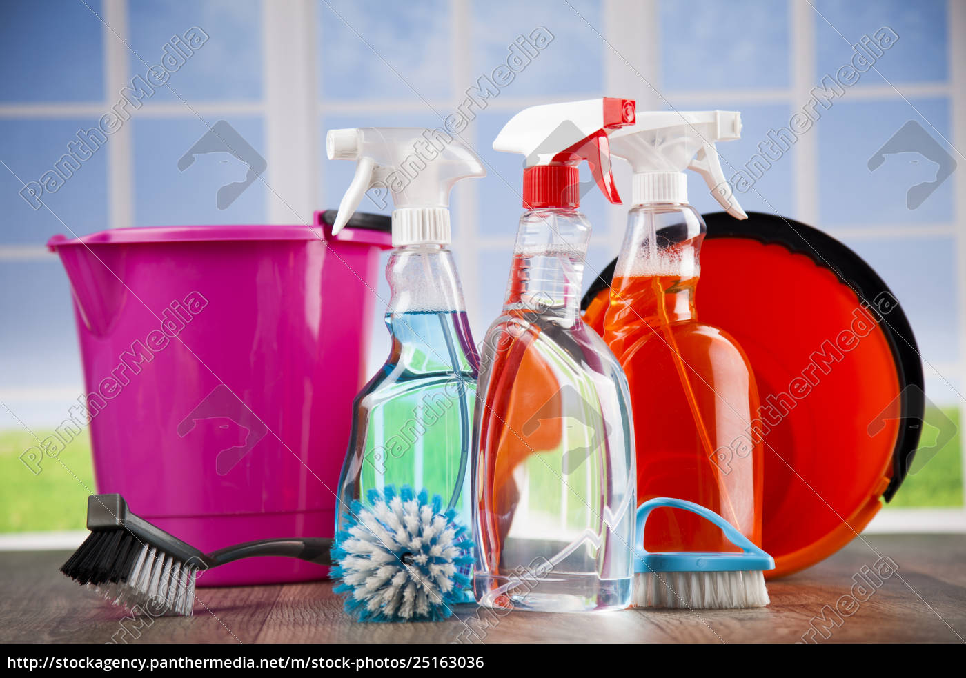house, cleaning, product, on, wood, table - 25163036