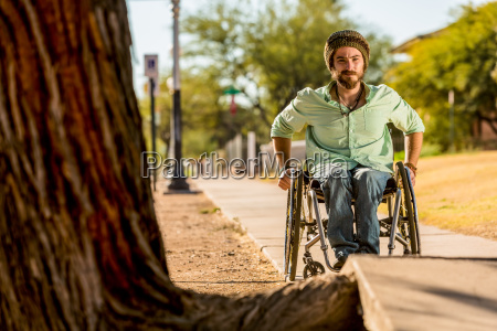man, in, wheelchair, faces, sidewalk, obstacle - 25164466