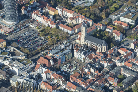 aerial perspective church city town europe
