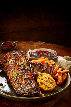 tasty portion of barbecued spare ribs