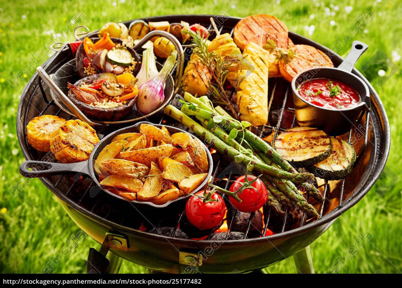 assortment, of, fresh, vegetables, grilling, on - 25177482