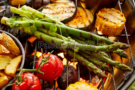 healthy, fresh, vegetables, grilling, on, a - 25177470