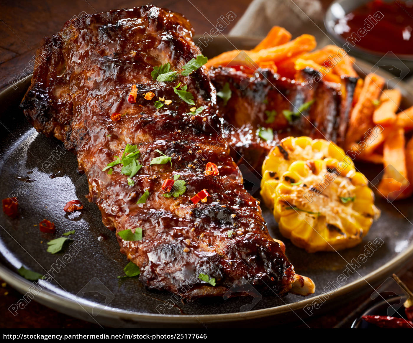 spicy, marinated, barbecued, portion, of, spare - 25177646