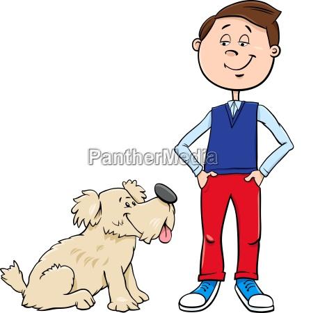 boy with cute dog cartoon illustration
