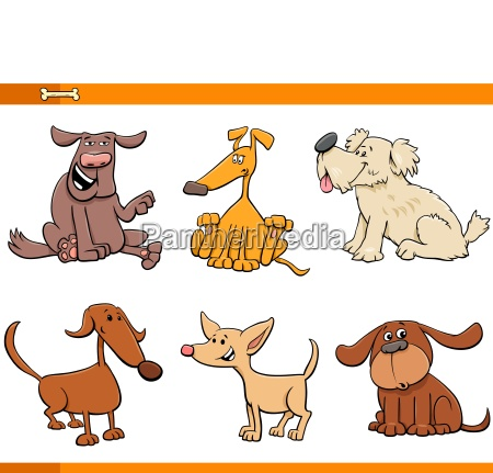 dogs and puppies cartoon characters set