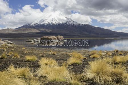 lake chungara and volcano parinacota