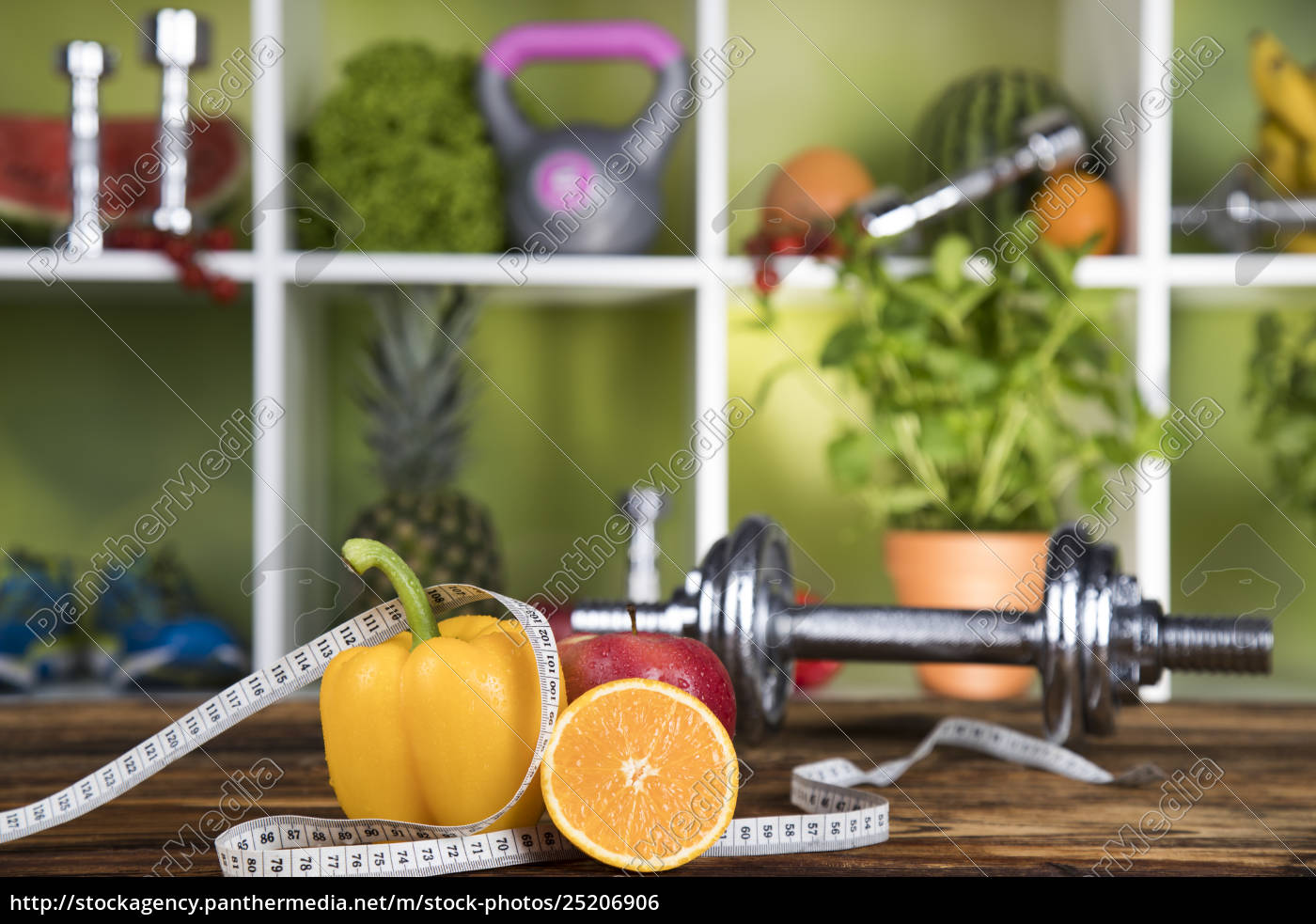 diet, and, fitness, , dumbbell, with, vitamin - 25206906