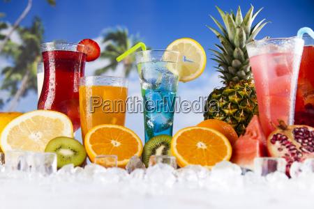 tropical, cocktails, set - 25206556