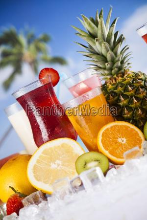 tropical, cocktails, set - 25209966