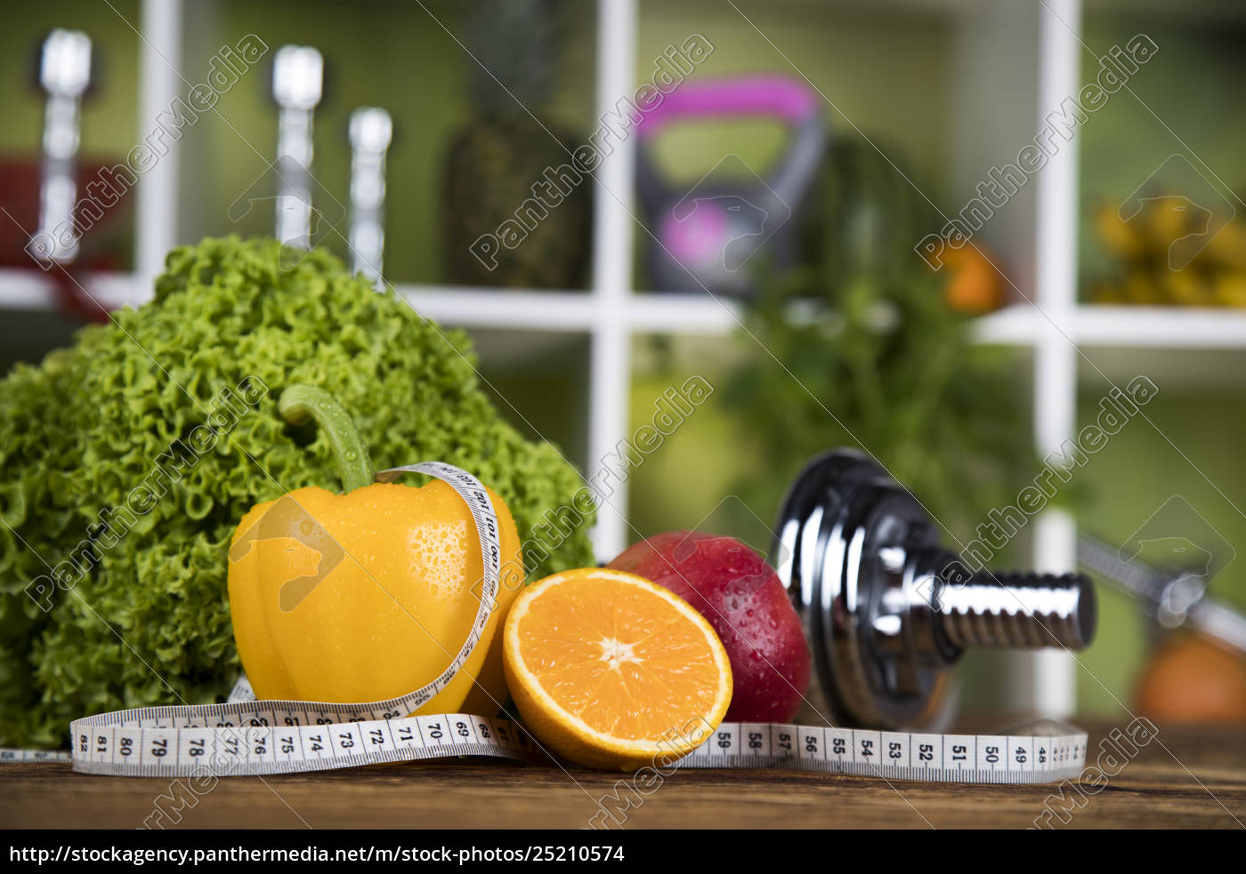 diet, and, fitness, , dumbbell, with, vitamin - 25210574