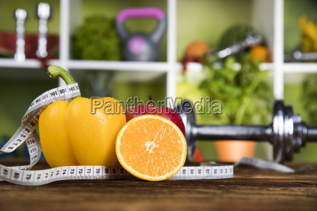 diet, and, fitness, , dumbbell, with, vitamin - 25210772