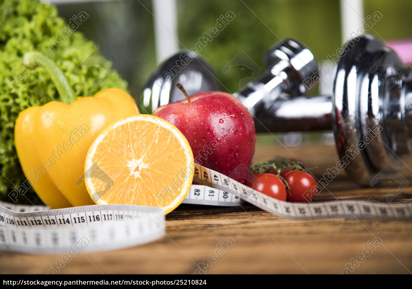 diet, and, fitness, , dumbbell, with, vitamin - 25210824