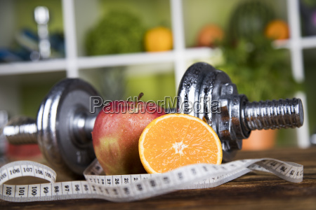 fitness, concept, with, dumbbells, and, fresh - 25210510