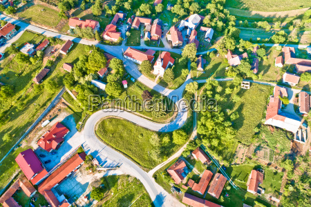 mountain village of apatovec aerial view