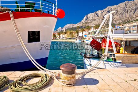 makarska fishermen harbor colorful view
