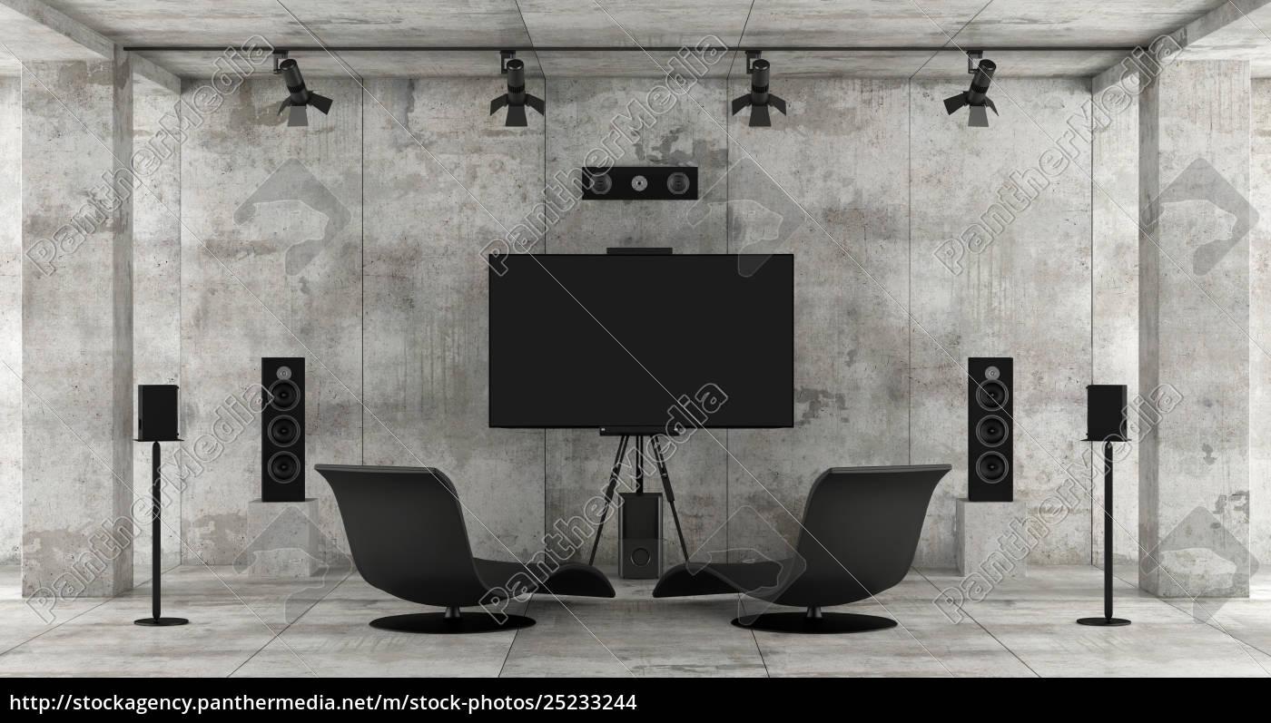 home, cinema, system, in, a, concrete - 25233244