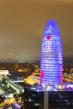 illuminated agbar tower and city of