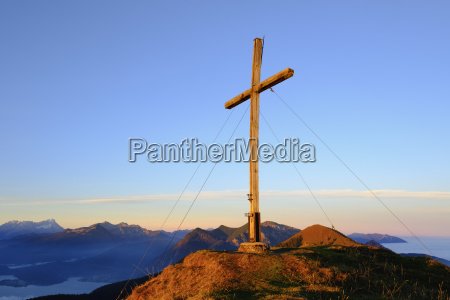 summit cross on hirschhoernlkopf in the
