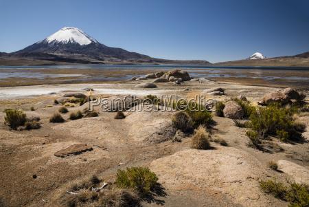 parinacota volcano 6348m lago chungara lake