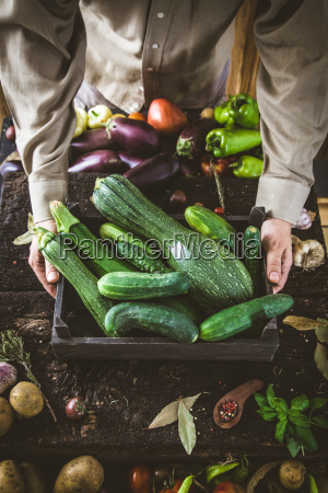 farmer, with, vegetables - 25272176