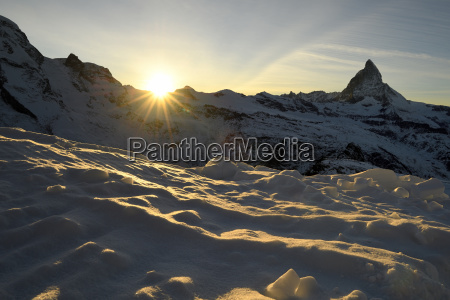 matterhorn at sunset valais alps zermatt