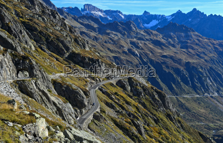 alpine landscape with mountain road susten