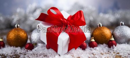 christmas, gift, box, and, balls, on - 25313208