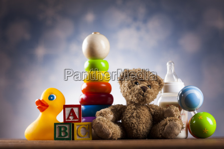 teddy, bear, on, on, wooden, background - 25313838