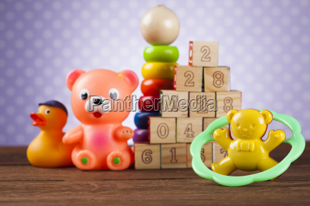 pile, of, toys, , collection, on, wooden - 25314478