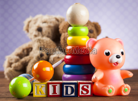 stuffed, baby, toys, on, wooden, background - 25314658