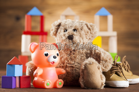 stuffed, baby, toys, on, wooden, background - 25314686