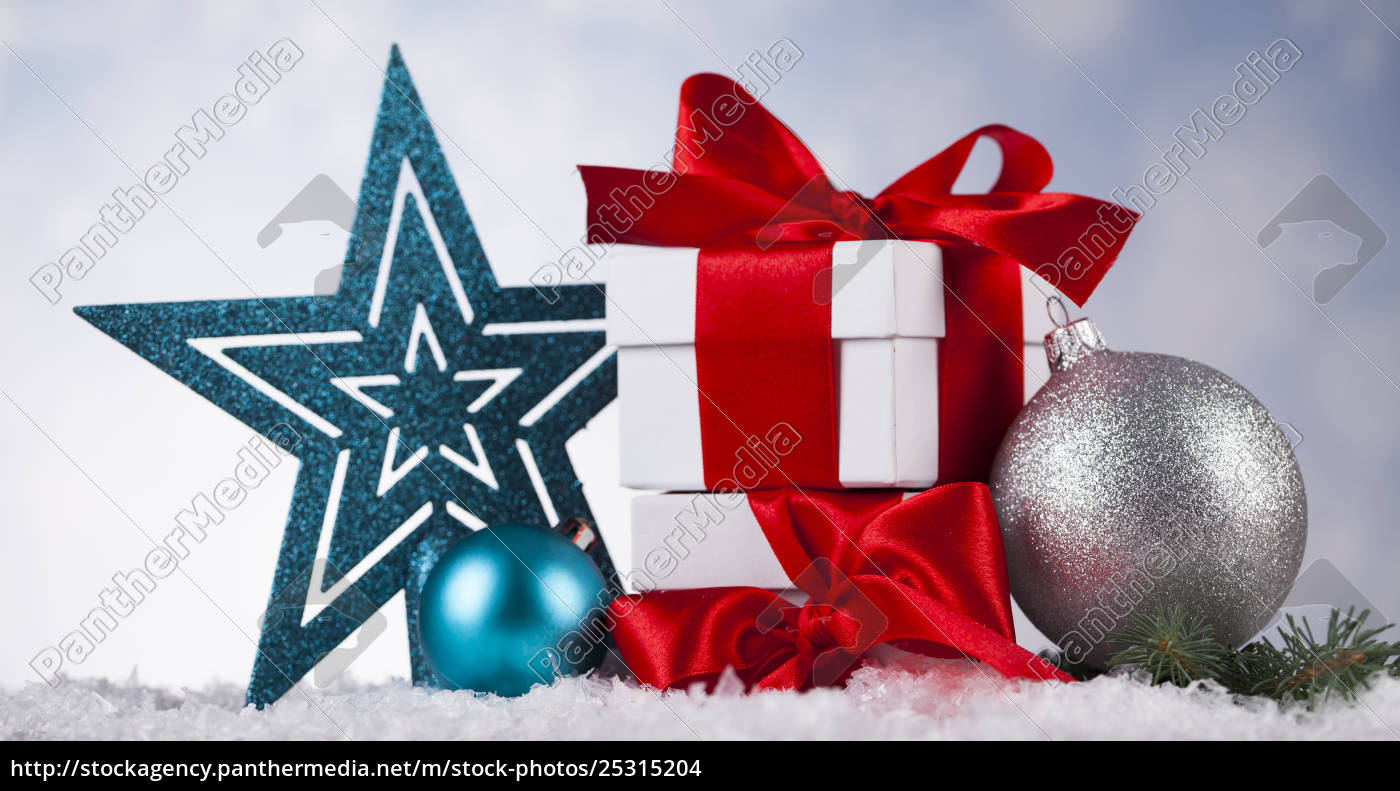 christmas, balls, , gift, box, with, red - 25315204