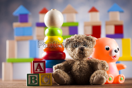 teddy, bear, on, on, wooden, background - 25318842