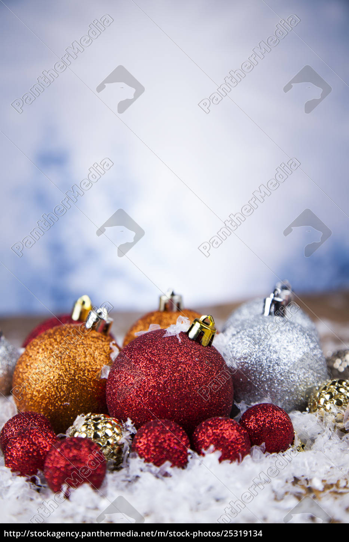 christmas, balls, on, shiny, background - 25319134