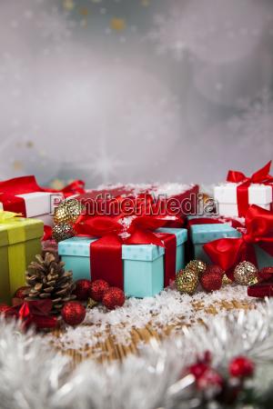 christmas, gift, box, and, balls, on - 25319136